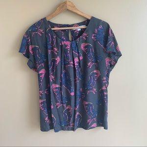 BODEN print bird blouse silk blend charcoal US 10